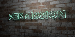PERMISSION - Glowing Neon Sign on stonework wall - 3D rendered royalty free stock illustration Stock Images