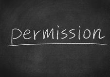 Permission. Concept word on a blackboard background stock photos