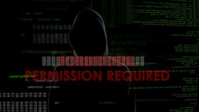 Permission required message on screen, unsuccessful hacking attempt on server. Stock footage stock video