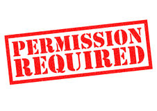 PERMISSION REQUIRED. Red Rubber Stamp over a white background Royalty Free Stock Photo