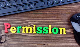 Permission word on table Stock Image