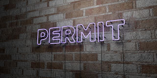 PERMIT - Glowing Neon Sign on stonework wall - 3D rendered royalty free stock illustration. Can be used for online banner ads and direct mailers Royalty Free Stock Images