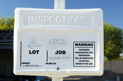 Permit sign. Building permit sign in a residential home construction site Stock Image