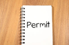 Permit write on notebook Stock Photography