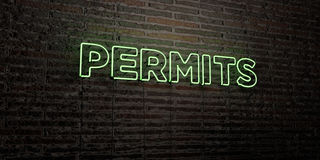 PERMITS -Realistic Neon Sign on Brick Wall background - 3D rendered royalty free stock image. Can be used for online banner ads and direct mailers stock illustration