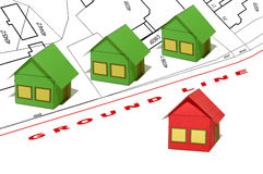 Permitted and forbidden building-legal plan. Permitted and forbidden building according to the building plan Stock Image
