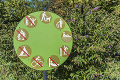 Permitted and prohibited activities. Sign of permitted and prohibited activities in the park Royalty Free Stock Image