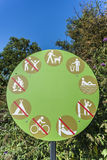 Permitted and prohibited activities. Sign of permitted and prohibited activities in the park Royalty Free Stock Photo