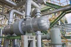 Permutador de calor na planta de refinaria Fotografia de Stock Royalty Free