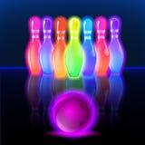 Perni d'ardore al neon di bowling Illustrazione di clipart di vettore Immagini Stock
