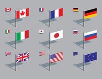 Perni della bandierina - G8 Fotografie Stock Libere da Diritti