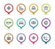 Perni della mappa con le icone illustrazione di stock