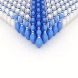 Perni di bowling blu come indicatore Immagini Stock Libere da Diritti