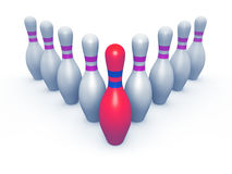 Perni di bowling di colore bianco e goldish Immagini Stock Libere da Diritti