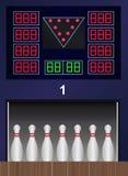 Perni di bowling di vettore sul vicolo di bowling Fotografia Stock