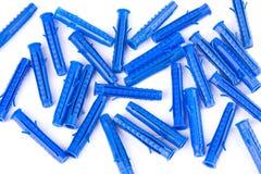 Perni di plastica isolati su bianco Fotografia Stock