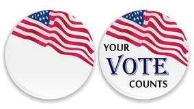 Perni di voto con la bandierina degli Stati Uniti Immagine Stock
