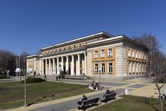 Building of Cultural center and Drama Theatre Boyan Danovski in city of Pernik, Bulgaria. PERNIK, BULGARIA - MARCH 12, 2014: Building of Cultural center and royalty free stock photos