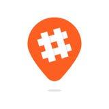 Perno anaranjado con el icono del hashtag Fotografía de archivo libre de regalías