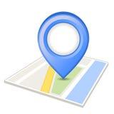 Perno azul en mapa Imagen de archivo