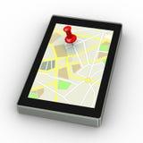 perno 3d attaccato sulla compressa della mappa dei gps Fotografie Stock