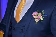 Perno de la solapa de la boda Fotografía de archivo