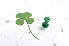 Perno del calendario di giorno dei patricks della st marzo Fotografia Stock Libera da Diritti