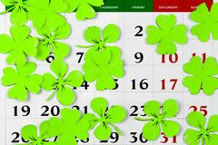 Perno del calendario di giorno dei patricks della st marzo Copi lo spazio Immagini Stock Libere da Diritti