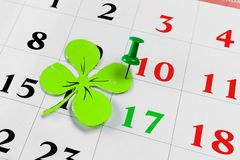 Perno del calendario di giorno dei patricks della st marzo Copi lo spazio Fotografia Stock Libera da Diritti