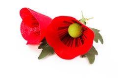 Perno del fiore di due papaveri del tessuto su fondo bianco Fotografie Stock Libere da Diritti