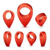 Perno del indicador 3d del mapa Marcador rojo del perno para el lugar del viaje Sistema del vector de los símbolos de ubicación e libre illustration