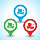 Perno del indicador encima del icono con el ejemplo de la ciudad, elemento del diseño web Imagenes de archivo