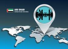 Perno del mapa con el horizonte de Abu Dhabi stock de ilustración