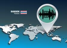 Perno del mapa con el horizonte de Bangkok ilustración del vector