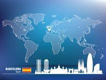 Perno del mapa con el horizonte de Barcelona ilustración del vector