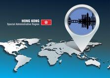 Perno del mapa con el horizonte de Hong Kong