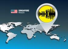 Perno del mapa con el horizonte de Singapur stock de ilustración