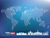Perno del mapa con el horizonte de Viena libre illustration