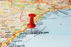 Perno del mapa de Castellon de la Plana Fotografía de archivo libre de regalías