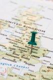 Perno del mapa de Reino Unido Imagenes de archivo