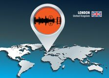 Perno della mappa con l'orizzonte di Londra Fotografia Stock