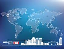 Perno della mappa con l'orizzonte di Vancouver Fotografie Stock Libere da Diritti