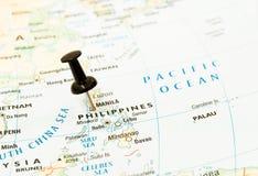 Perno della mappa di Filippine, Manila immagine stock
