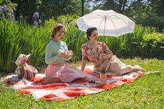 Perno grazioso due sulle signore che hanno picnic piacevole nel parco della città in un giorno soleggiato insieme gli amici di ra immagine stock
