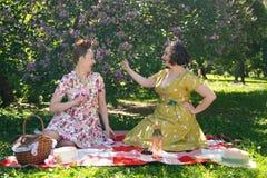 Perno grazioso due sulle signore che hanno picnic piacevole nel parco della città in un giorno soleggiato insieme gli amici di ra immagine stock libera da diritti