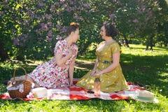 Perno grazioso due sulle signore che hanno picnic piacevole nel parco della città in un giorno soleggiato insieme gli amici di ra fotografia stock