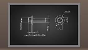 Perno marcado con tiza en un tablero negro ilustración del vector