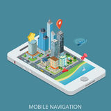Perno mobile della mappa dello smartphone di navigazione della città isometrica piana di vettore 3d Fotografia Stock Libera da Diritti