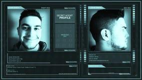Perno operativo dell'angolo dell'interfaccia di profilo dell'agente segreto futuristico di Digital stock footage