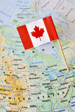 Perno ottawa della bandiera della mappa del Canada Fotografie Stock Libere da Diritti